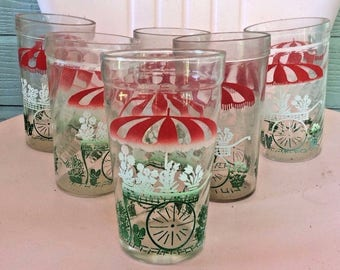 Vintage Lot Of 6 Drinking Glasses Glass Tumbler Garden Cart Floral Mid  Century