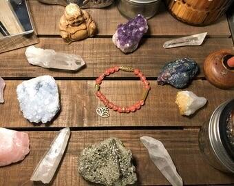 Lotus rose quartz beaded bracelet
