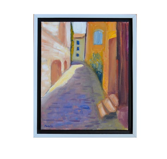 """Village painting, Original oil painting, Painting of France, French countryside, Medieval alley, Oil on canvas, Framed painting, 8"""" X 10"""""""