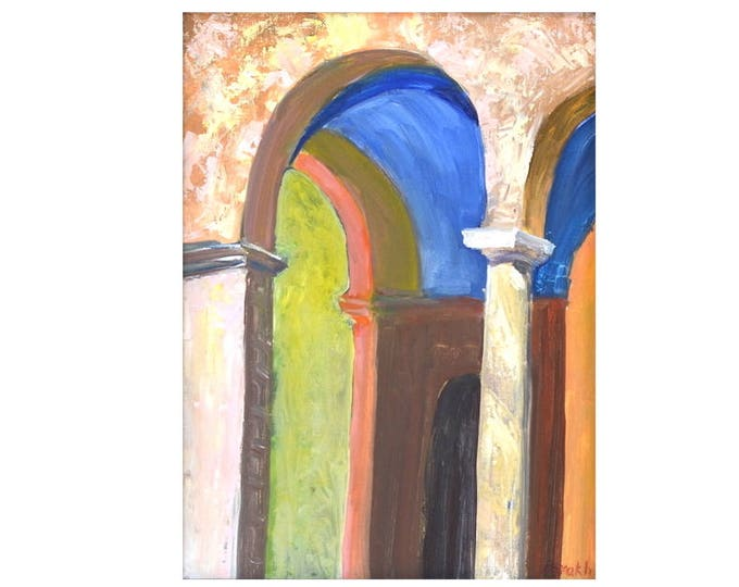 Columns painting, Pillars, Architecture painting, Mansion, Pink, blue, Orange, Oil painting, canvas,  Original fine art  9 X 12 Oil on linen