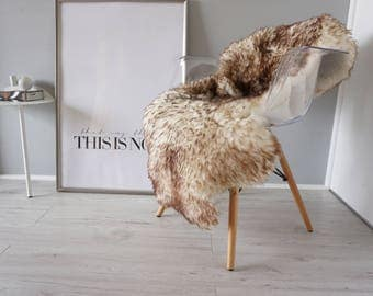 Genuine Natural Sheepskin Rug |  Soft Wool | Creamy White With Dyed Brown & Ginger Tips - SN 219