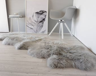 Genuine Double Natural Sheepskin Rug - Extremely soft wool - Dyed Grey | Silver | Ash | Tan Mix  - DN 31