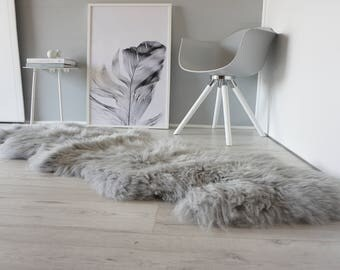 Genuine Double Natural Sheepskin Rug - Extremely soft wool - Dyed Grey | Silver | Ash | Tan Mix  - DN 35