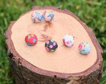 Flower Earrings, Fabric Studs, Flower Print Jewelry, Titanium Earrings, Hypoallergenic Studs, Button Earrings