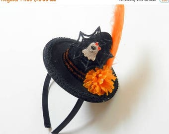 SUMMER SALE EVENT Witch top hat / Mini witch hat halloween headband/ halloween witch hat/ halloween costumes Ready to ship