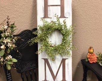 Home Wood Sign with Wreath