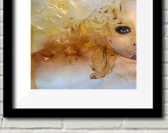 Golden Girl Original Digital Mixed Media Watercolor PRINT Limited Edition Numbered Gold Orange Model Face Girls FREE shipping USA