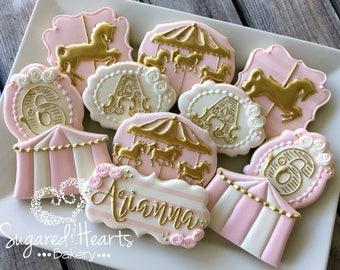 Circus Carousel Pink and Gold Birthday Cookies - 1 Dozen