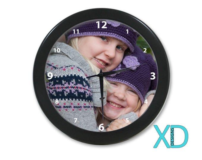 Custom Clock, Photo Clock, Personalized Clock, Monogram Clock, Customized Clock, Wall Clock, Picture Clock, Clock Gift, Black, Silver, Red