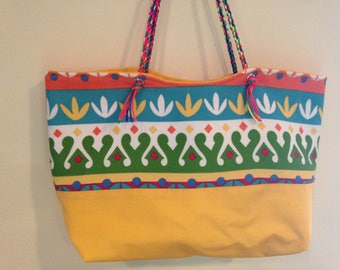 Bright Tote with Neon Braided Handle (Kumihimo)