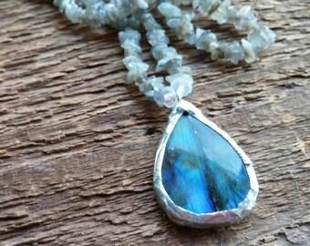 Labradorite Necklace, Pendant Necklace, Beaded Necklace, Blue Necklace, Tiffany Style, Bohemian Jewelry, Boho Jewelry