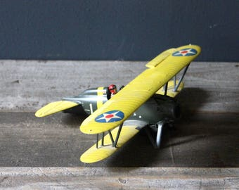 Vintage Model Airplane with Pilot U.S. Army
