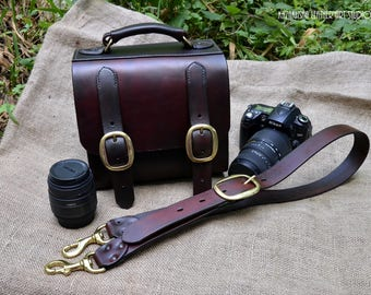 Leather messenger bag for DSLR Camera Bags from full-grain leather, customized DSLR bags