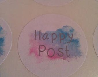 happy post stickers 35mm round