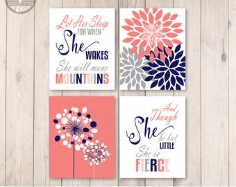 Girls Navy Pink Coral Grey Nursery Bedroom Wall Art Prints, Let Her Sleep and She is Little Shakespeare Quotes, Print Set of (4) Unframed