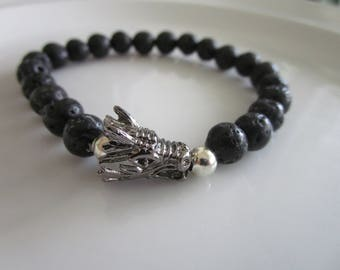 Men's black lava beaded bracelet with gray dragon head charm - gift idea - black men's bracelet - dragon head charm bracelet - gift for men