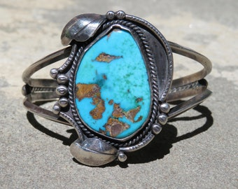 Turquoise and Silver Navajo Cuff, Vintage Native American Bracelet, Signed Turquoise and Sterling Jewelry, Handmade Vintage Turquoise Cuff