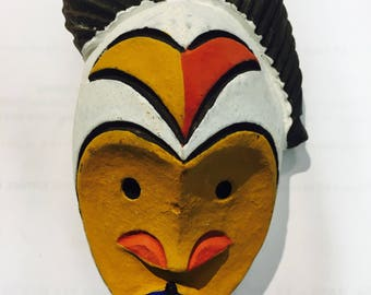 Vintage Mustard Yellow, Fire Red, Ultramarine Blue, Black & White Handpainted West African Passport Mask