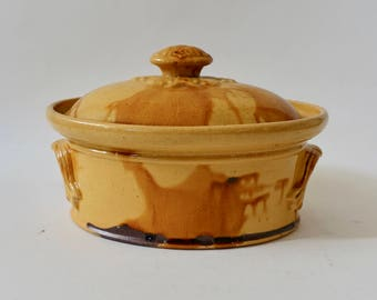 Antique French Country Pottery Tureen, Confit Pot