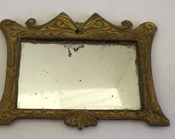 Antique Metal Dollhouse Mirror