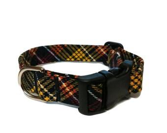 Love Fall Plaid Pet Collar, plaid dog collar, tartan dog collar, boy dog collar, puppy collar, red collar