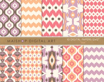 Digital Paper 'Ikat' Pattern Instant Download Printable Sheets for Scrapbooking, Paper Crafts, Decoupage, Cards, Invites...