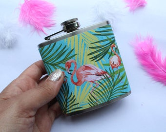 Flamingo Hip Flask Gift For Her Festival or Party Accessory