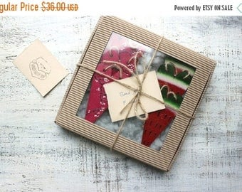 CHRISMAS IN JULY 20-26.07 Large gift box set of 6 wooden heart ornaments Valentines decor rustic bridal shower Mother's day watermelon summe