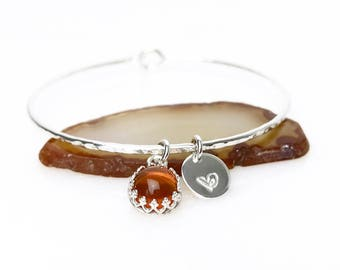 Fire Opal Charm Bracelet / October Birthstone Personalized Gift for Mom, Wife, Sister / Sterling Silver or 14k Gold Filled Fire Opal Bangle