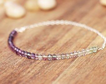 Sterling Silver Beaded Bracelet - Gemstone Bracelet, Sparkly Gemstone Bracelet, Unique Bracelet, Delicate Bracelet, fluorite