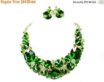 SALE SALE Green Crystal Statement Necklace, Green Crystal Bridal Necklace Set, Chunky Crystal Necklace, Green Evening Necklace - E 32