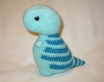 T-rex plush amigurumi mint green and turquoise