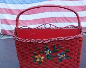 Antique Red Wicker Magazine Basket