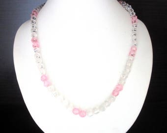 Faceted Lucite Bead Necklace Clear Ice & Baby Pink Single Strand 17 Inches