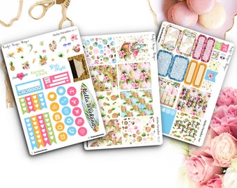 Aloha Paradise Mini Weekly Kit//Planner Stickers//Tropical