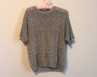 80s grey knit slouchy sweater, comfortable t-shirt, crochet tee, small medium - vintage -