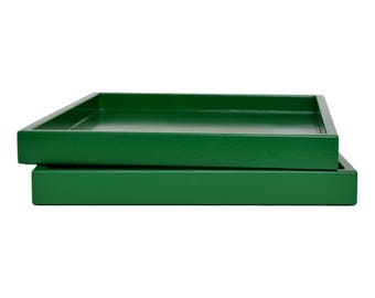 Decorative Tray Coffee Table, Lacquer Tray for Ottoman, Coffee Table Tray, Ottoman Tray, Catchall, Emerald Green Tray, Entryway Organizer