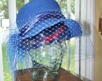 Vintage Royal Blue Hat With Veil Feathers