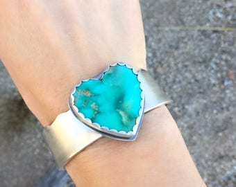 Large Arizona Kingman Turquoise Heart Cuff, Sterling Silver Bracelet For Woman, Engraved Jewelry, One Of A Kind Holiday Gift For Her.