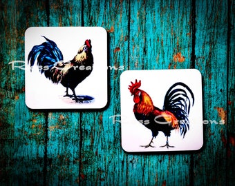 Rooster and Hen Coaster SET of Two