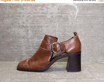 40OFF Vtg 90s Brown Leather Chunky Block Heel Cutout Sandala Shoes 7.5