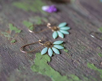 Gold floral earrings. enamel Earrings. Long Dangle mint Earrings. Modern Everyday Earrings, Gift for Her, Mom, sister