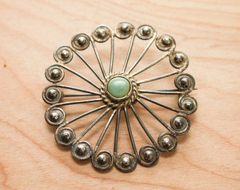 Vintage Southwest Mexican Style Silver and Turquoise Colored Stone Circular Brooch