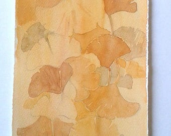 Watercolour painting original, Ginkgo leaves in ochre and beige, Nature art work, Botanical painting, Home decor, Kitchen decor, Rakla17