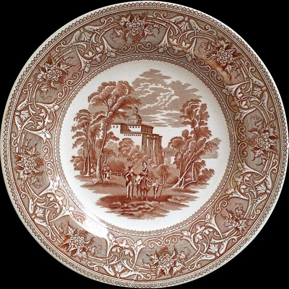 Antique Brown China, Brown Dinner Plate, Old Dishes, Brown Transferware, Brown and White