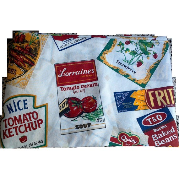Vintage 1950s Advertising Cotton Tablecloth, Cotton Fabric, Advertising, Retro Tablecloth, Linens