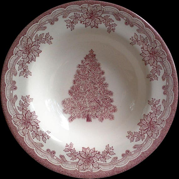 "Yuletide Christmas Bowl, 8 3/8"", Red Transferware, Staffordshire, Serving, Holiday Bowl, Entertaining, See Details Below"