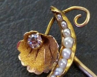 Vintage 10k Solid Yellow Gold Crystal & Seed Pearl Pod Hat Tie Lapel Stick Pin