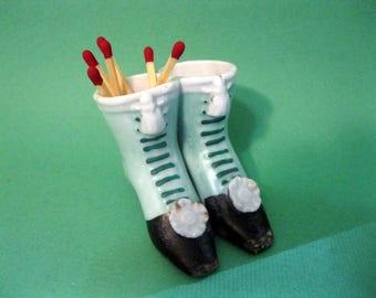 Ceramic Match Holder, Match Striker, Pair of Lady's Boots, Vintage