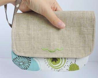 Zipper Wallet Clutch Envelope Clutch Clutch Wallet Minimalist Wallet Foldover Clutch Aqua Floral Wristlet Natural Linen Spring Gift for Her